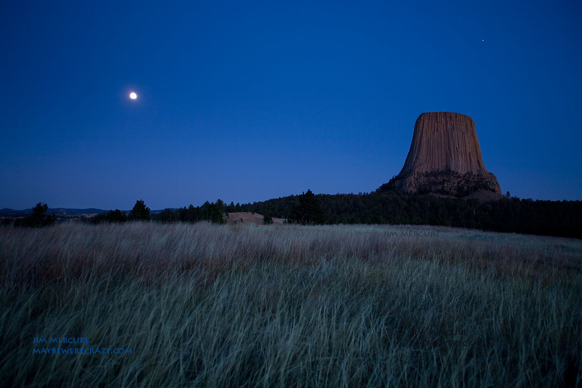 Devil's Tower with moon rise